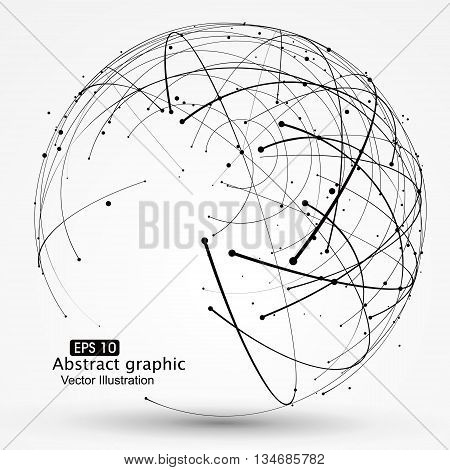 Point and curve constructed the sphere wireframe ,technological sense, abstract illustration.