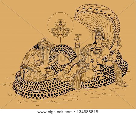 Indian god Shiva and his wife lying on the sea serpent