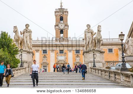 ROME, ITALY - APRIL 8, 2016: Capitoline hill landmark square designed by Michelangelo.