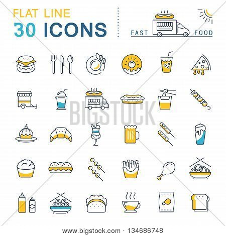 Set vector line icons in flat design fast food Chinese food and junk food with elements for mobile concepts and web apps. Collection modern infographic logo and pictogram.