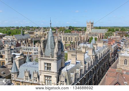 A high angled view of the historic architecture in Cambridge England. This univerisity city is a popular destination in England