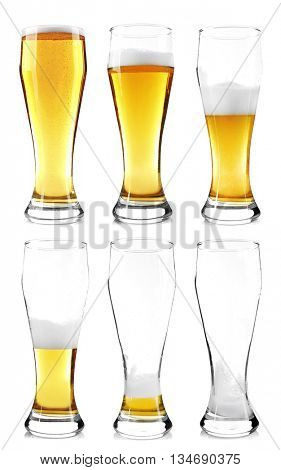 Steps of discharge glass of beer. Drinking beer process, isolated on white