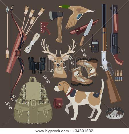 Flat Hunting equipment icon set. Flat style. Vector illustration.