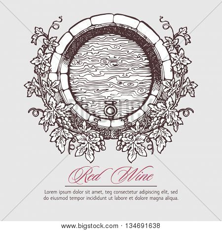 Wine and wine making. Wine barrel with grapes wreath. Wine template design. Vector illustration. Sketch style design.