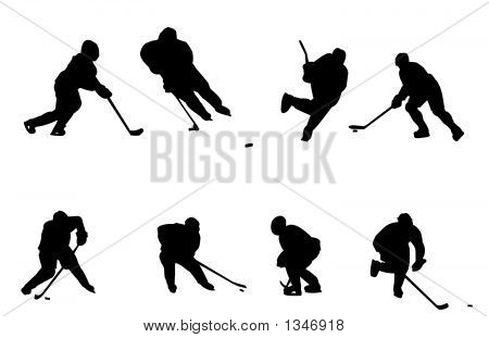 hockey players silhouette black and white in vector format poster