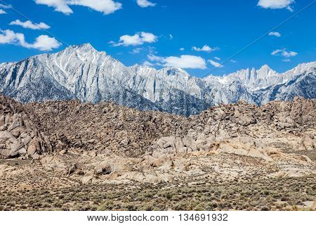 Sierra Nevada mountains with Mt Whitney on a sunny day
