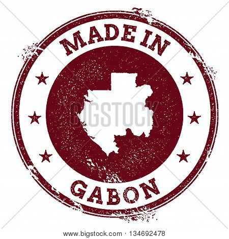 Gabon Vector Seal. Vintage Country Map Stamp. Grunge Rubber Stamp With Made In Gabon Text And Map, V