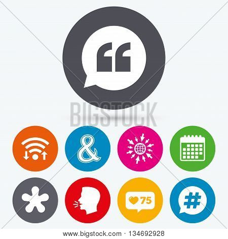 Wifi, like counter and calendar icons. Quote, asterisk footnote icons. Hashtag social media and ampersand symbols. Programming logical operator AND sign. Speech bubble. Human talk, go to web.