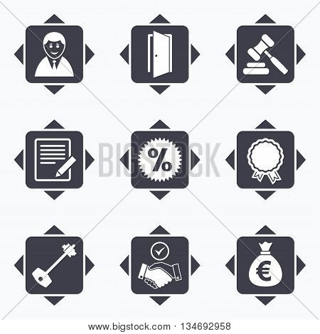 Icons with direction arrows. Real estate, auction icons. Home key, discount and door signs. Business agent, award medal symbols. Square buttons.