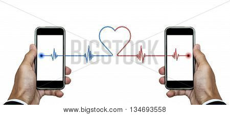 Hand holding smart phone with signal lines connection to another phone with heart shape, isolated on white background