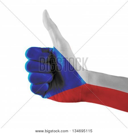 Czech Republic Flag Painted Hand Showing Thumbs Up Sign On Isolated White Background With Clipping P