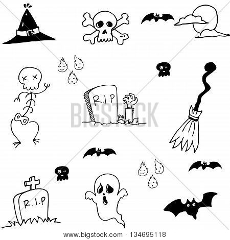 Hand draw doodle Halloween stock vector illustration