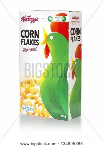 Mallorca Spain - APRIL27 2016: Kellogg's Corn Flakes Original breakfast cereal. American multinational food manufacturing company. Headquarters Battle Creek Michigan United States