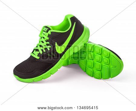 Chisinau Moldova- May 27 2015: New style nike shoes. Taken at studio and isolated over white background - illustrative editorial