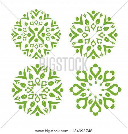 Green leaf decorating with healthy swash symbol
