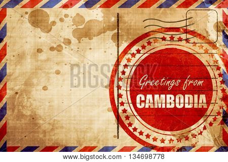Greetings from cambodia, red grunge stamp on an airmail backgrou