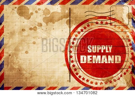 supply and demand, red grunge stamp on an airmail background