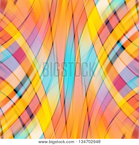 Colorful smooth light lines background,  square simple vector illustration