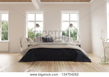 Bright light modern minimalist bedroom interior with a king size bed below a rows of windows on a light colored parquet floor with white walls. 3d Rendering.