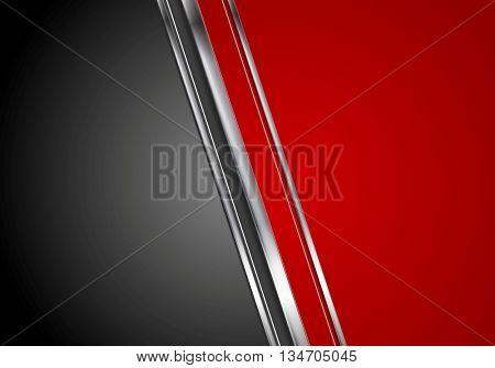 Contrast red black tech background with metallic stripes. Vector abstract graphic design