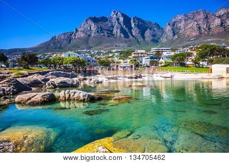 Panorama of Cape Town, South Africa. The city beach against magnificent mountains