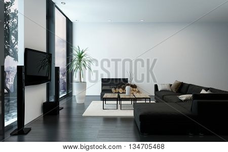 Modern luxury apartment with fireplace, black couch and bare white walls. 3d Rendering.