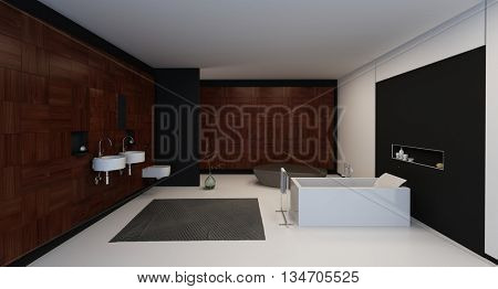 Modern fixtures in a minimalist stylish luxury black and white bathroom interior. 3d Rendering.