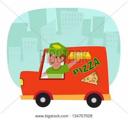 Pizza delivery truck with a pizza delivery guy and a silhouette of a city in the background. Eps10