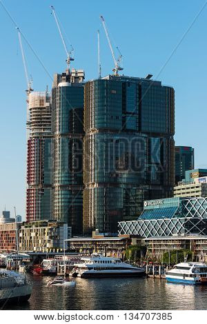 Sydney Australia - 2016 Mar 26: King Street wharf and Barangaroo office buildings. South Barangaroo redevelopment project includes construction of three commercial skyscrapers with large recreational area