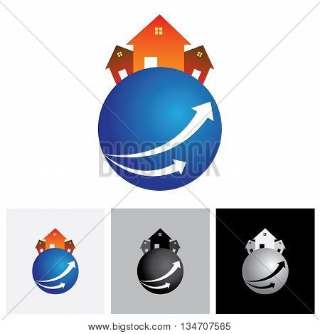 House ( Home ) Or Residence Vector Logo Icon On A Planet