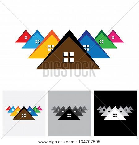 House ( Home ), Residential Locality Vector Logo Icon Of A Town Or City