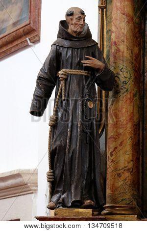KOTARI, CROATIA - SEPTEMBER 16: Statue of Saint James of the Marches on altar of Saint Anthony in the church of Saint Leonard of Noblac in Kotari, Croatia on September 16, 2015.