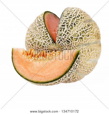 fresh felon cantaloupe isolated on white background.