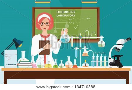 Female scientist at Chemical laboratory Science lesson with microscope technologyScience education chemistry experiment laboratory concept vector illustration.