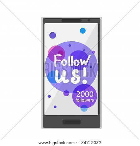 Flat design modern vector illustration concept of social media icons. Hands draw Follow us at phone. Web design for site, network, social networks. Vector illustration.
