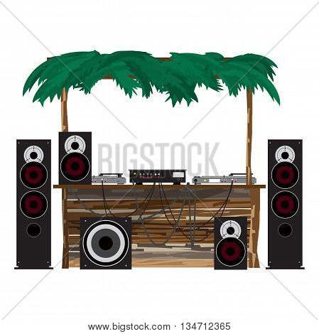 Summer party: dj console on the beach. Equipment for disco in a wooden bungalow. Set of loudspeakers subwoofer turntables a mixer for a disco on the beach. Vector flat cartoon isolated illustration