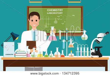 Male scientist at Chemical laboratory Science lesson with microscope technologyScience education chemistry experiment laboratory concept vector illustration.