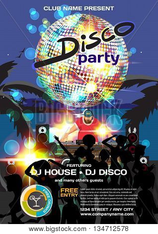 Vector summer party invitation disco style. Night beach dj crowd women in bikinis palm trees disco ball posters invitations or flyers. Vector template night summer party poster.