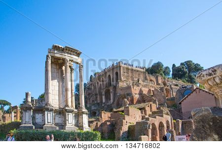 ROME, ITALY - APRIL 8, 2016: Temple of Vesta Roman's forum with ruins of important ancient government buildings started 7th century BC