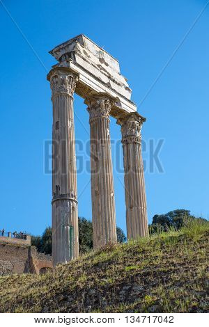 ROME, ITALY - APRIL 8, 2016: Temple of Castor and Pollux  Roman's forum with ruins of important ancient government buildings started 7th century BC