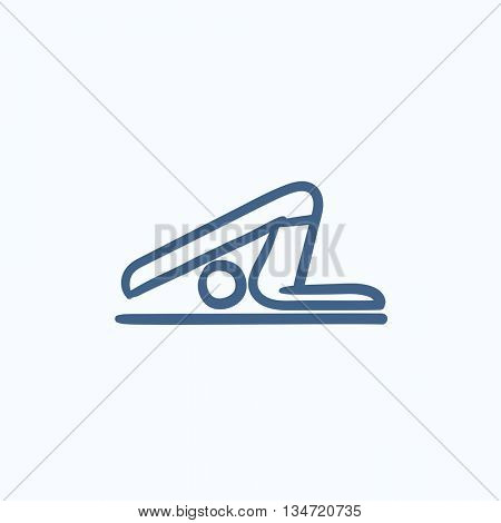 A man practicing yoga plough pose vector sketch icon isolated on background. Hand drawn man practicing yoga plough pose icon. Man in yoga plough pose sketch icon for infographic, website or app.