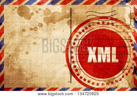 xml, red grunge stamp on an airmail background