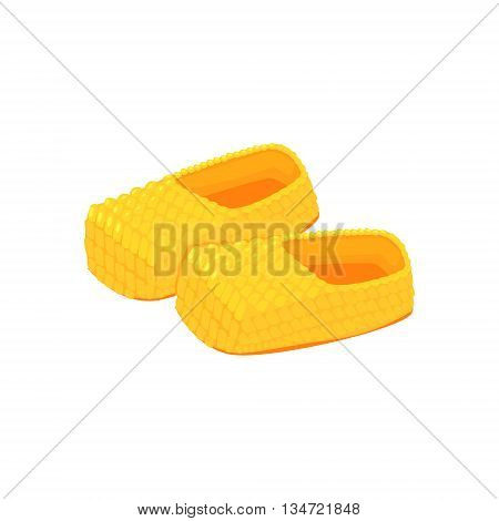 Russian Peasant Bast Shoes Bright Color Detailed Cartoon Style Vector Illustration Isolated On White Background