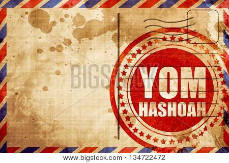 yom hashoah, red grunge stamp on an airmail background