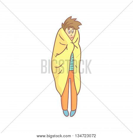 Guy Standing Wrapped In Plaid Flat Outlined Pale Color Funny Hand Drawn Vector Illustration Isolated On White Background