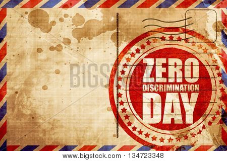 zero discrimination day, red grunge stamp on an airmail backgrou