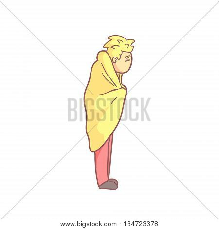Blond Guy Standing Wrapped In Blanket Flat Outlined Pale Color Funny Hand Drawn Vector Illustration Isolated On White Background