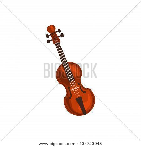 Realistic Classic Violin Flat Simplified Colorful Vector Illustration Isolated On White Background