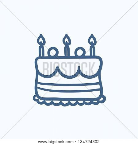 Birthday cake with candles vector sketch icon isolated on background. Hand drawn Birthday cake with candles icon. Birthday cake with candles sketch icon for infographic, website or app.