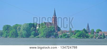 View to Village of Roebel at Lake Mueritz in Mecklenburg Lake District,Mecklenburg western Pomerania,Germany